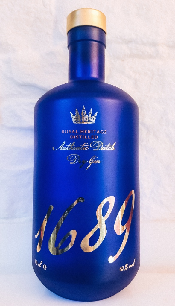 Gin 1689 in the royal blue bottle with gold label